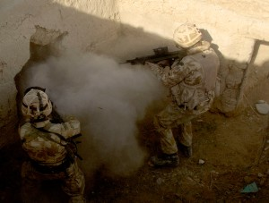 British infantrymen fighting at close quarters