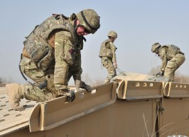 British engineers building a bridge in Afghanistan